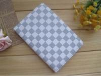 Free shipping  Double color grid rotate PU Leather Case Cover for Apple iPad MINI white color