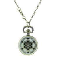 1pcs Vintage Carving Yellow Flower Case Pocket Watch Rhinestone Crystal Flower-Shaped Quartz Pocket Watch for Women Ladies