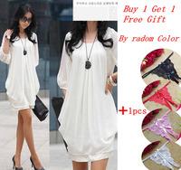Get 1pc Sexy G-string Free! OISK Plus Size M-4XL Womens Black white Casual Dress Crew Chiffon Runway Mini Dresses Short Sleeves
