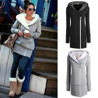 HOT Selling women hooded sweatshirts casual double zipper hoodie jackets long Leisure jersey warm coat plus big size M-5XL