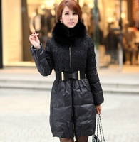 Winter new fashion Slim oversized fox fur collar white duck women down jacket