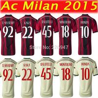 AC MILAN 14 15 Thai quality Home Away Soccer Jersey. AC Milan 2015 football shirt  BALOTELLI KAKA HONDA AC Milan jersey 2014