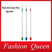3pcs/set Nail Polish Art Brushes Pen ,Nail Art Stylish Acrylic Gel Tips Design Liner Painting Drawing Pen,Manicure Nail Tools