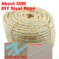 6mm natural sisal rope 1.2kg about 50 meters diy cat scratch board cat climbing frame + 10 PCS Ties + 1 Melt Stick
