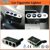New 2014 Car Accessories 3 Way Auto Car Cigarette Lighter Socket Splitter 12V/24V USB Port Car Charger for iPhone WF-0100