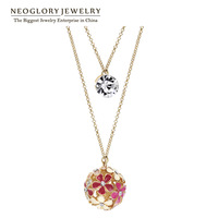 Neoglory Czech Rhinestone 14k Gold Plated Stoving Varnish Colorful Pendant Necklace for Women  Jewelry   Deals 2014