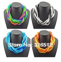 1pc New Arrival Fashion Bohemia Multilayers rows arcylic  Beads Weave cross Chains Lovely choker collar bib Necklace womens