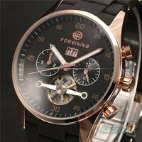 FORSINING New 2015  Luxury Watch Black Men Dial Day Tourbillon Auto Mechanical Watches