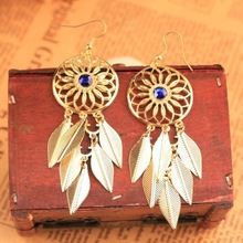 Min order 10usd ( mix items ) Fashion Vintage Big Leaf Tassel earrings for women 2013