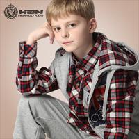 Sports 3 pieces set,children boy sports set,long sleeve plaid shirt + pants + hooded waistcoat,teenage casual clothing set,T16