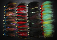 40Pcs Tube Flies Cone Heads Black/Red/Green Salmon And Sea Trout Fly Fishing Flies Lures
