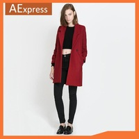2013 New European Fashion Christmas, Double Breasted Women Coat with Turn Down Collar, Long Jacket for Winter,  Black & Red 560