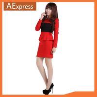 2013 New Arrival Autumn Winter Long Sleeve O-Neck Splice Ruffles Women Dress, White, Red, S M L, 621