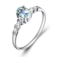 Free shipping  natural aquamarine gem ring female natural gem ring perfect pinky ring gift  blue topaz rings
