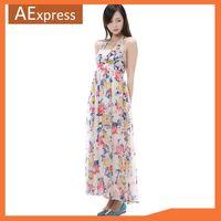 2014 Women Dresses, Ankle Length Maxi Dresses, Halter-neck Bohemian Long Print Chiffon Dress for Summer Beach, Long Novelty 054