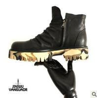 size37-45 Jiniwu 2014 men's autumn winter waxing pleated genuine leather double zipper antiskid platform cowhide denim boots