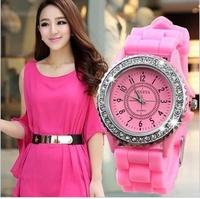 Fashion GENEVA women's casual crystal diamond rubber silicone gel jelly watches ladies girls sports dress wristwatches WTH05