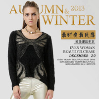Sweaters 2013 women fashion winter gold stamping print vintage loose clothing batwing sleeve sweater