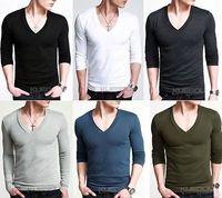 Mens T-Shirt Fashion Casual Long Sleeve Slim Tee Designer Black M L XXL ST-805