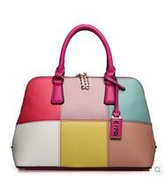New Arrival OPPO Brand Bag  Women's PU Leather Handbag Fashion Color Block Shell Handbag women's 2014