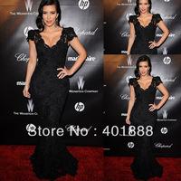 Black Mermaid Lace Applique Beaded V-neck Cap Sleeve Evening Celebrity Wholesale Bandage Dress
