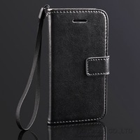 Luxury PU Leather Case For iPhone 5C Crazy Horse Pattern Wallet Pouch Flip Stand Phone Cover With Card Holder And Strap
