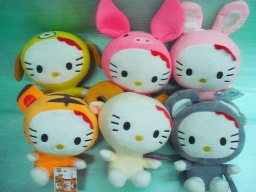 Free shipping, Top Quality Chinese Zodiac Hello Kitty Stuffed & Plush toys Jackie Chan Toys 12 figures a set, DIY Desktop Decor(China (Mainland))