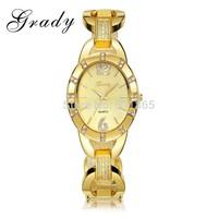 Grady Hot sale woman Japan quartz luxury watch 30 meters water resistant Gold plated watch Women dress watch