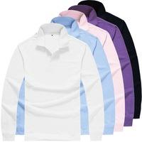 Printed custom lapel collar T-shirt long-sleeved robes Blank T-shirts Custom  shirt work shirt