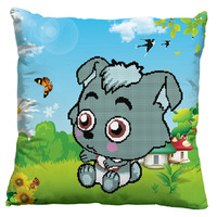 Precision printing 3D  cross stitch  kit printed Pillow small gray wolf  Cartoon Wolf dimensional embroidery  New Free shipping