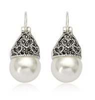 antique clip-on heart pearl earrings silver ,1732177 -34.5