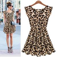 Hot Selling New 2015 Women's Dresses Chiffon Leopard Print Sexy Casual Shirt Tops Plus Size S M L XL Mini Dress Drop Shipping