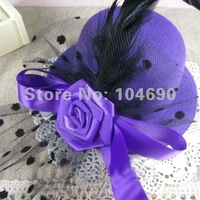 Free Shipping 2014   net yarn rose flower mini hat,purple headwear