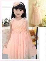 2013 summer girl dress Kids Baby Dresses  Two color pearl flower girls dresses Children's princess dress  SIZE 2T-8T