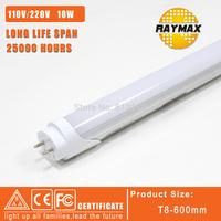 LED TUBE 60CM T8 600mm/2ft 10w SMD2835 AC100-240V led tube light warmwhite/coolwhite 10pcs/lot