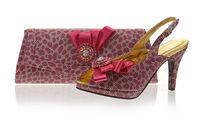 2013 High quality italian shoes and bags to match,fashion wedding shoes with rhinestone,fushia pink,free shipping SB8774