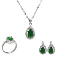 NEW 925 Sterling silver jewelry sets  jewelry suit  plated White Gold  necklace & pendant earrings ring  WEDDING