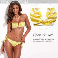 Bikini of the Year RELLECIGA NEW Yellow Metallic Stripe Full-Lined Bandeau Bikini Set with Front V