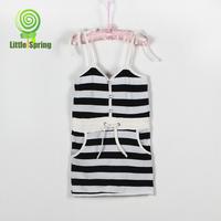 LittleSpring Retail Girls Dresses children stripe dress sleeveless cotton one-pieces kids clothes girs casual dress
