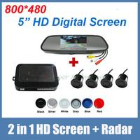 5 inch HD Digital mirror monitor + parking sensor radar sensor system. 2 in 1 parking system