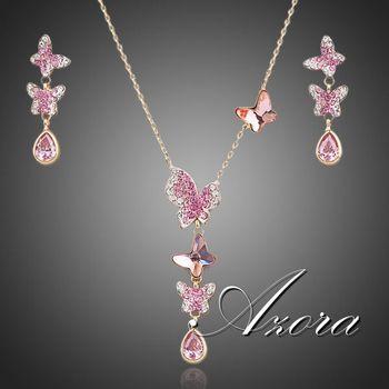 Азора прекрасная бабочка 18 К позолоченный Stellux австрийский хрусталь ожерелье и серьги комплект ювелирных изделий TG0057