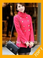 Free Shipping 2013 Promotion hot selling short,Thickening,  Woolen, Blend , Turn down collar coat  ,wholesale coat for women
