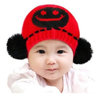 New 2013 Baby's Autumn Winter Cap in 5 colors Knitted  Hat for Boy and Girl Children Hats with Smile Face  by Free Shipping