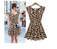 new 2014 spring summer casual animal Sexy Women Leopard Print Dress Microfiber Summer Dress Vintage bodycon Loose Mini Dresses