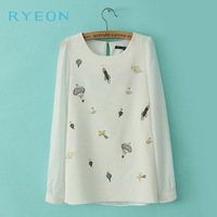 New Korean Fashion Female Models White Chiffon Blouses,Embroidery Round Neck Long-Sleeved Print  M/L Shirt,Women Wholesale Tops