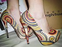 Women size 11 heels 5 inch high heels Peacock platform pumps women shoes 2014