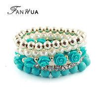 Bijouterie Turquoise  Rhinestone Beads Flower Adjustable Aliexpress Bohemian Bracelets and Bangles Sets