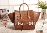 3041 Bat Pack brown crocodile fashion luxury guaranteed 100% genuine  original leather new fashion 2013 new smile face handbag