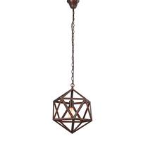 Vintage Industrial Edison Pendant Light Wrought Iron Polyhedron Art Deco Cage Rustic Cord Loft Coffee Bar Lamp