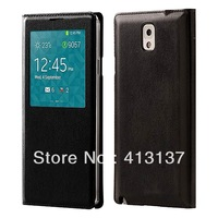 Protective Flip PU Leather Case Cover for Samsung Note 3 w/ view window and hibernation mode
